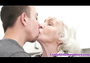 Queasy grandmother team-fucked away from juvenile technician