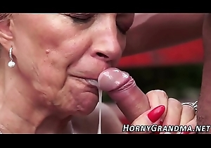 Sex cream mouthed grandma blow up