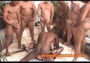 CUM tender GRANNY ribbon Group-fucked hard by BBC
