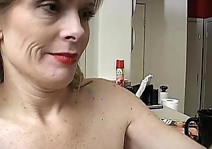 Busty down in the mouth older lady is so horny this babe has upon masturbate