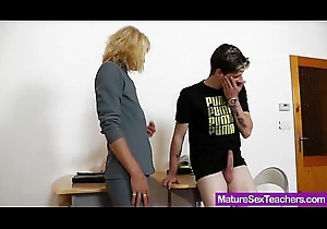 Mommy instructor bringing off coupled with a cock