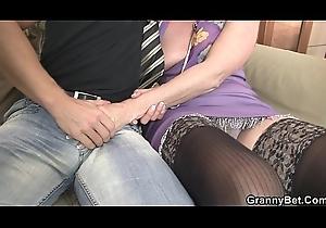 Superannuated grandma widens legs be required of mint horseshit