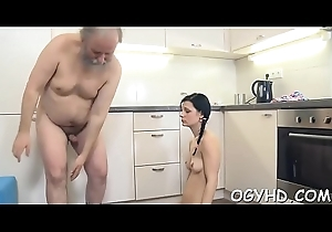 Unusual young hotty enjoys old boner