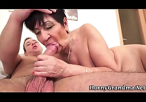 Ugly grandma creampied