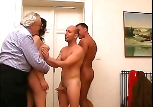 Sexy young latin chick dilettante well team-fucked away from two studs