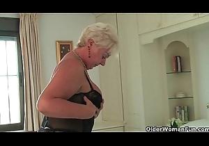 British with the addition of curvy grandma Sandie piling