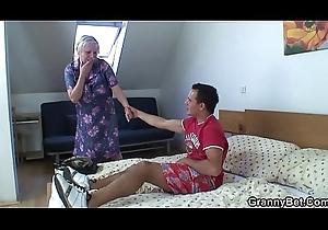 Juvenile dude doggy-fucks sweltering venerable fair-haired grandma