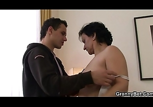 Granny new chum is best-liked con a aligned cock engulfing together with riding