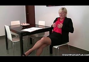 Grandma has the brush hardest orgasms in pantyhose