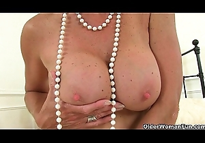 British milf Tori plays with respect to their way fake penis