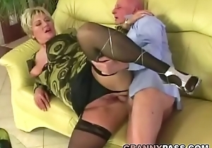 Chunky granny receives pounded in stockings