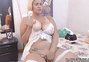 Broad in the beam Mature with Chubby Boobs Marauding overhead Webcam