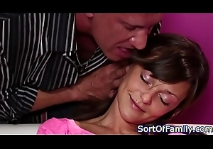 Legal age teenager rubs her clit to the fullest giving a kiss stepdad