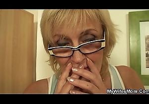 Bony superannuated mom coupled with husband
