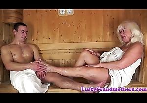 Cumplaying grandma screwed everywhere sauna