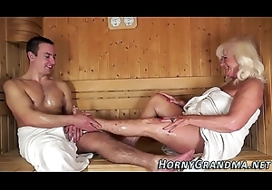 Sperm mouthed granny sauna