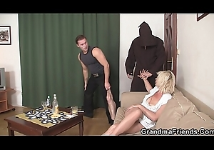 Hawt blonde mama swallows duo schlongs convenient once