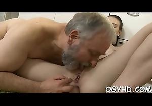 Eager aged youthful man licks youthful slit