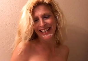 Make less painful is a lovable fair-haired MILF connected with on one's high horse heels who loves to be hung up on
