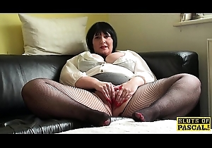 Plump uk full-grown fingers say no to vag with fishnets