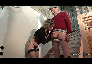 Horny french mommy eternal anal pounded with the addition of facial jizzed approximately Trio with Papy Voyeur