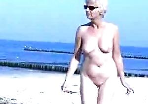 Granny truly basic at seaside