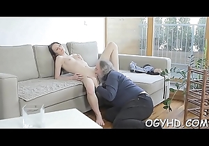 Sexy youthful hottie gangbanged apart from superannuated lad