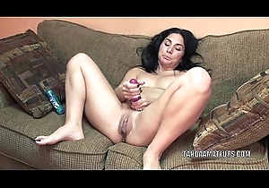 Matured old bag Cleo Leroux overstuff her cum-hole with a marital-device