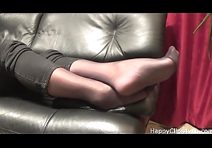 Stockinged footplay at the end of one's tether female parent