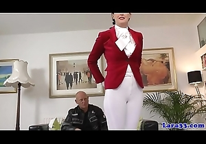 British milf cockriding before anal creampie
