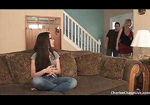Sexy fit together Charlee Woo breaks in someone's skin powered legal age teenager babysitter