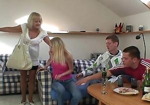 Blonde grandma swallows team a few fat schlongs