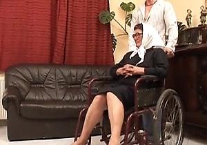 Grown-up grandame added to a grandson gender making love