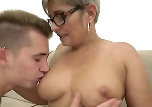 Grandma deepthroats a youthful heavy dick winning riding handy subservient drenching