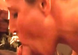 Festival Milf takes burly blowjob facial